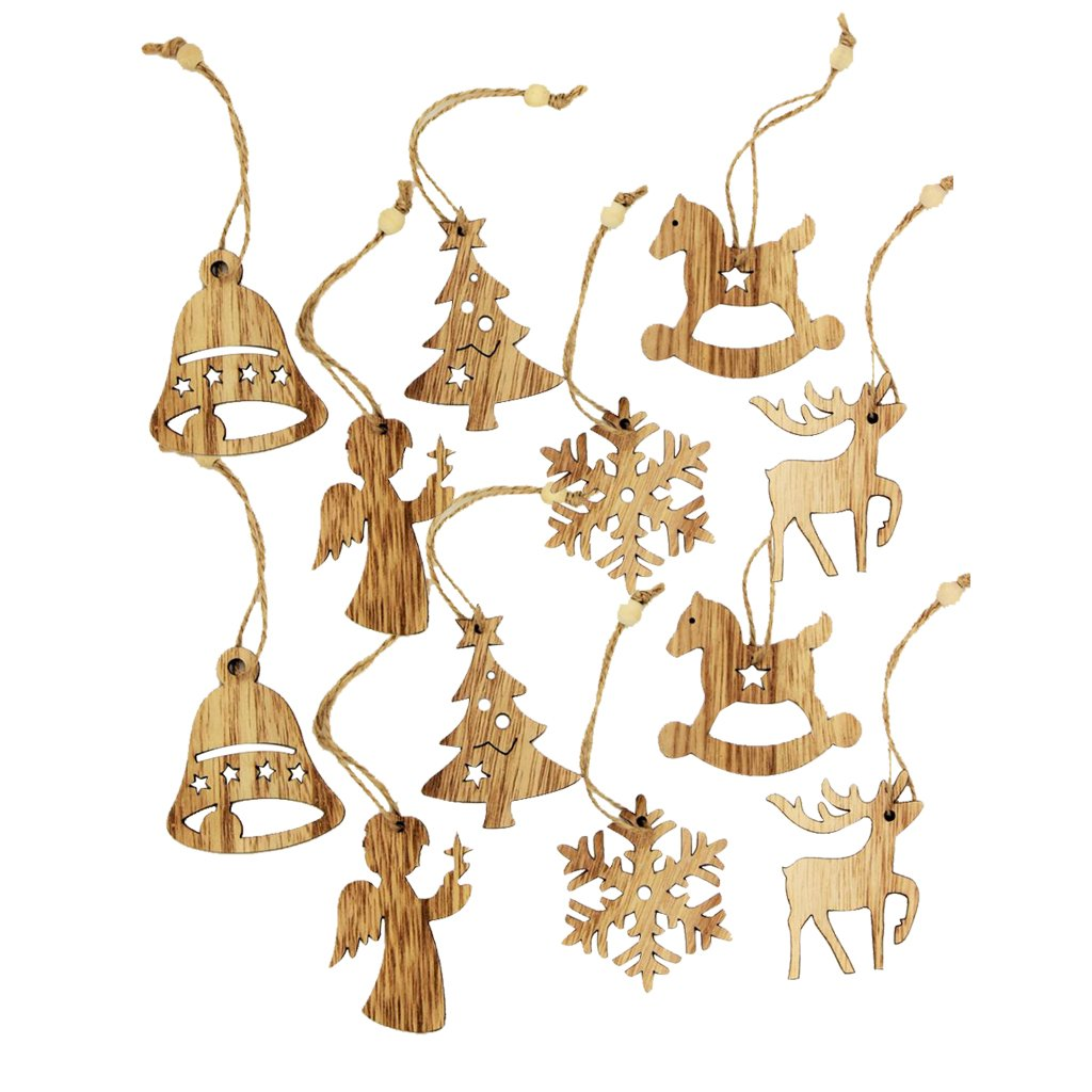 MagiDeal 12 Pieces Assorted Wooden Shapes Christmas Tree Ornament Xmas Hanging Bell Snowflake Decoration Gifts Tag with String