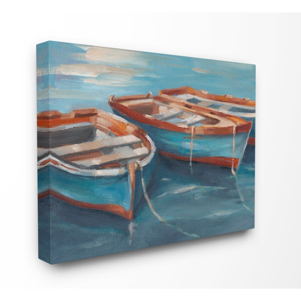 Stupell Industries Red White and Blue Row Boats at Dock Painting Canvas Wall Art, 24 x 30, Multi-Color by Stupell Industries
