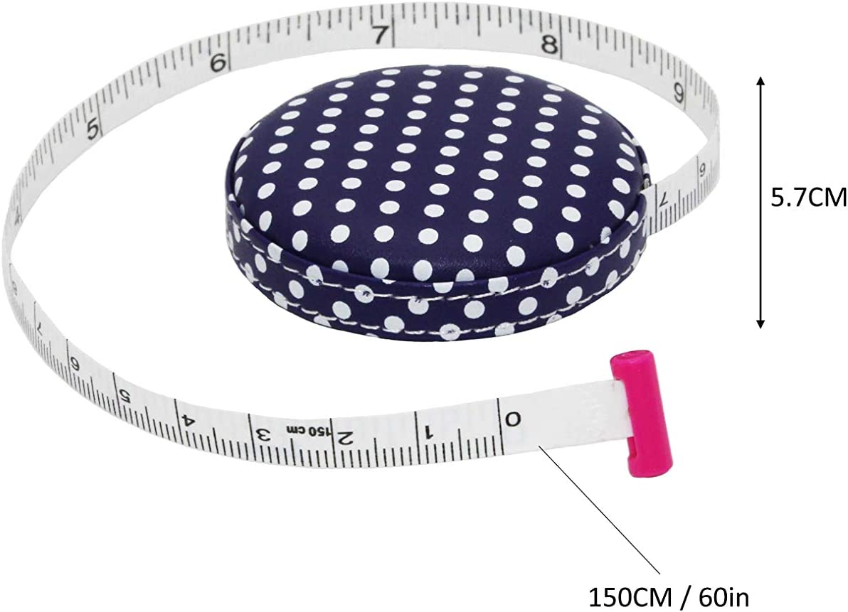 with Buttons Blue and White Round Sewing Tape Measure Leather Retractable Body Tape Measure 150 cm 60 inches Tailor Fabric Small Tape Measure