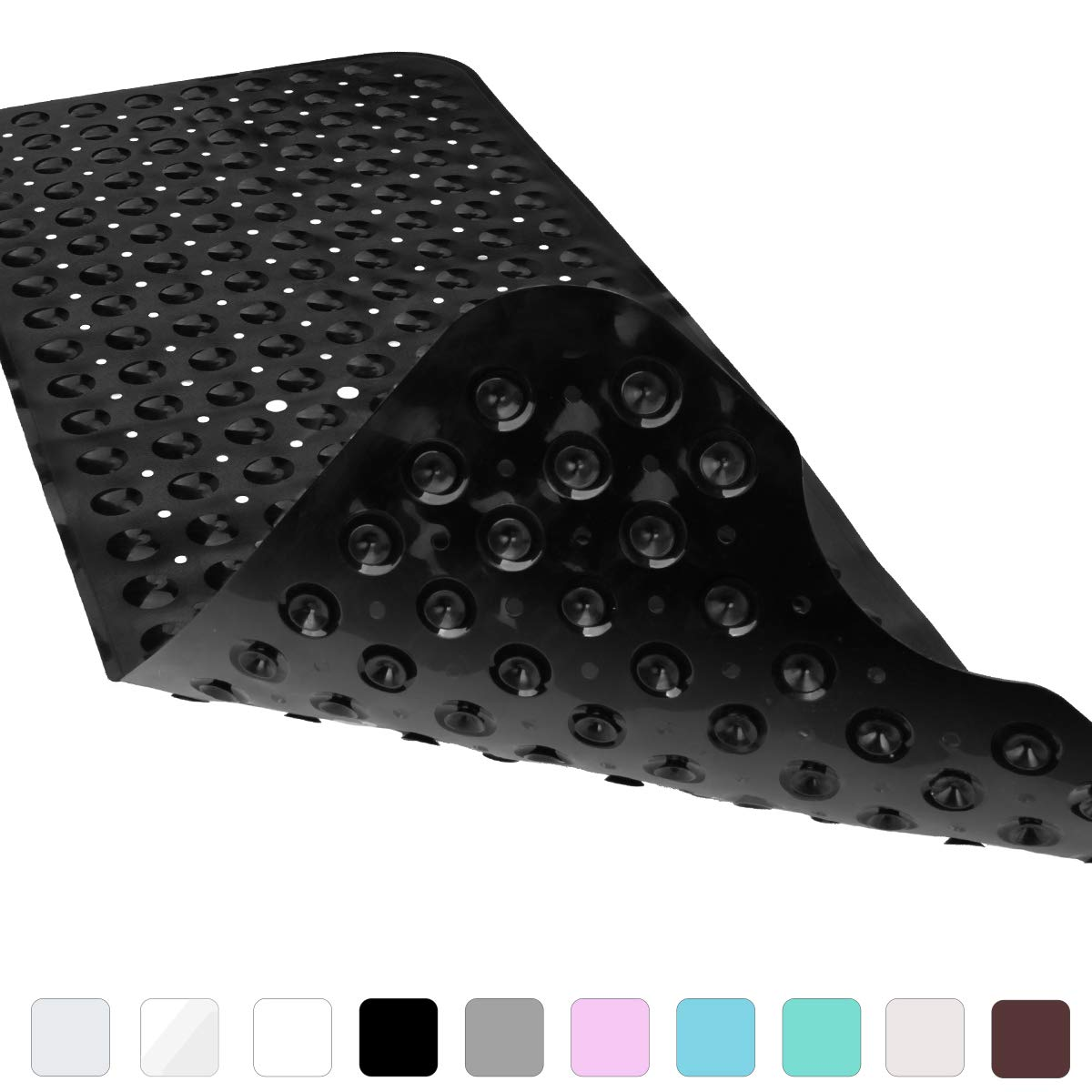 Yimobra Original Bath Tub and Shower Mat Extra Long Anti Bacterial Phthalate Free Latex and Machine Washable Large Mats Materials XL 40 x 16 Inch Black