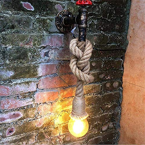 TZZ Creative Vintage Long Hemp Rope Chandelier Rustic Pendant Droplight Wall Light Fixture Retro American Country Wall Sconce E27 Retro Home Decoration by TZZ (Image #1)
