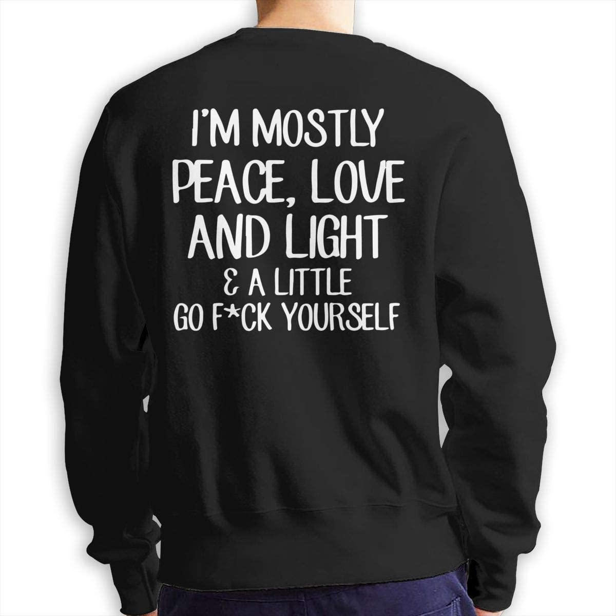 Im Mostly Peace Love and Light Mens Cotton Soft Double Sides Print Long Sleeve Crewneck Sweatshirt