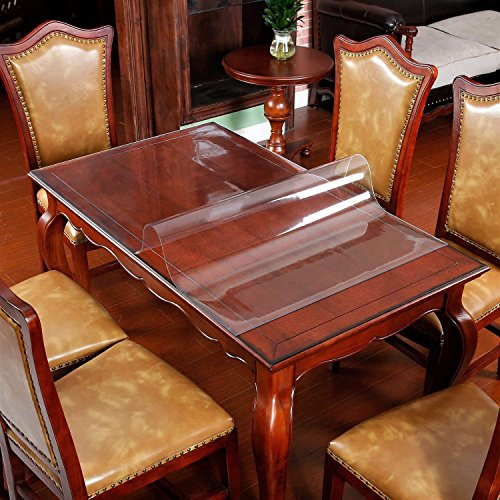 Wooden Furniture Table Protector Clear Plastic Wipeable Tablecloth Thick Desk Blotter Protective Cover Vinyl Dining Tabletop Protection Pad Easy Clean Polyester Dust Waterproof PVC Cloth 2ft 24 x 42""