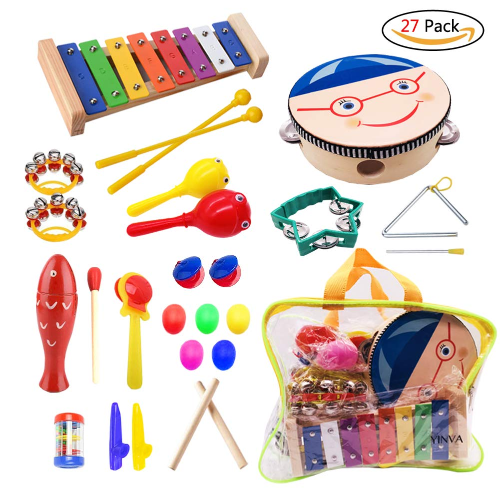 Kids Musical Instruments 27 Pcs Instruments Wooden Musical Percussion Instruments Musical Toys Set for Toddler Preschool Educational Toys with Kids Zipper Handbag AOTWAN