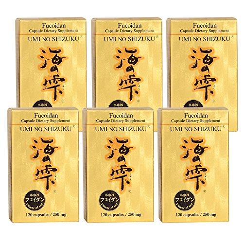 Umi no Shizuku Premium Fucoidan from Japan Pure Brown Seaweed Extract Optimized Immunity Health Supplement Enhanced with Agaricus Mushroom-120 Capsules x 6 Bottles by UMI NO SHIZUKU