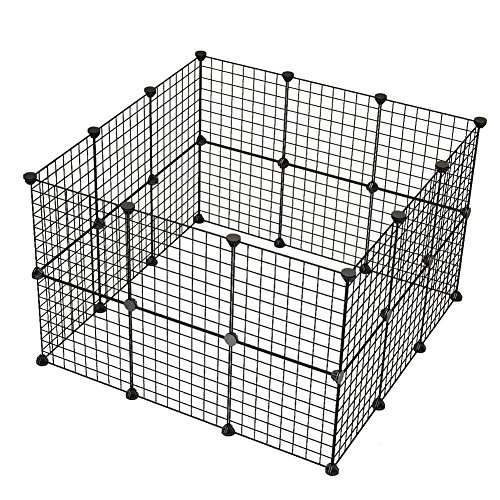 JYYG Pet Playpen, Small Animal Cage Indoor Portable Metal Wire Yard Fence for Small Animals, Guinea Pigs, Rabbits Kennel Crate Fence Tent, Black 24 Panels ()