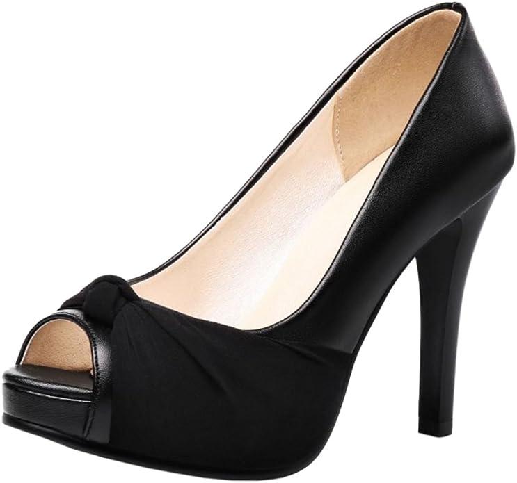 RAZAMAZA Mujer Moda Plataforma Peep Toe sin Cordones Court Zapatos Fiesta Tacon Alto Sandalias (38 EU, 34 Black)