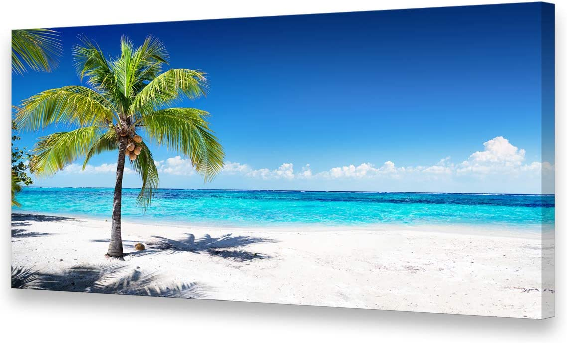 Large Canvas Wall Art Summer Ocean Waves Coconut Trees on Sands Beach Seascape Painting Sea Nature Pictures for Living Room Home Office Wall Decor Artwork XXLarge 30x60inch