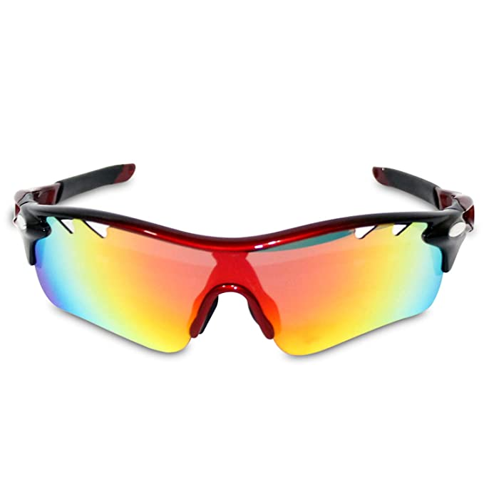 2f33be96a59 Polarized Sports Sun Glasses - UV-Resistant Sunglasses with Interchangeable  Lenses