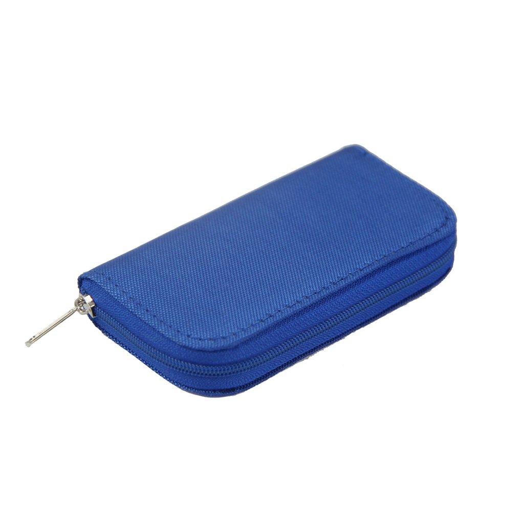 Bolsa Caja de Almacenamiento Funda Carpeta para Tarjeta de Memoria Tarjeta SD CF con 22 Ranuras - Azul