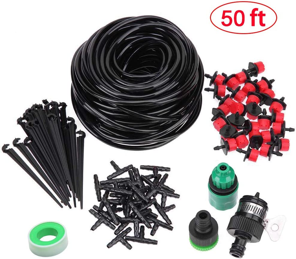 Kalolary 50ft Adjustable Drip Irrigation Kits Plant Watering System Accessories, Micro Flow Drip Irrigation Misting Cooling System, for Home Garden Patio Misting(50Ft Plant Watering System)