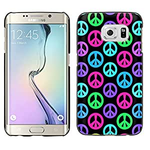 Samsung Galaxy S6 Edge Plus Case, Snap On Cover by Trek Multi Color Peace Sign on Black Case