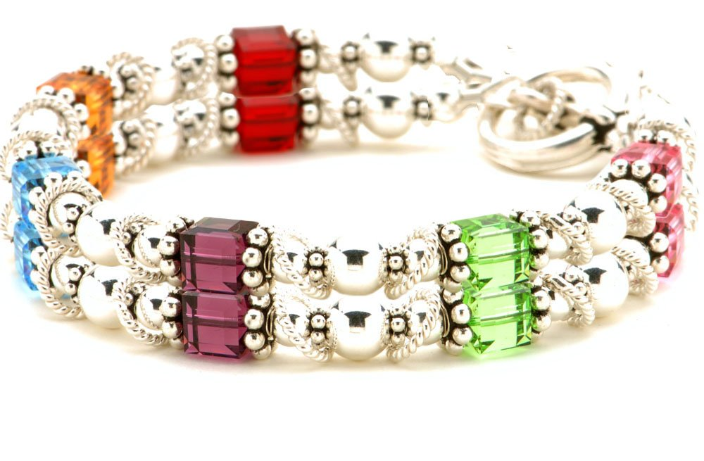 Sterling Silver & Birth Month Crystal Bracelet - Double Strand