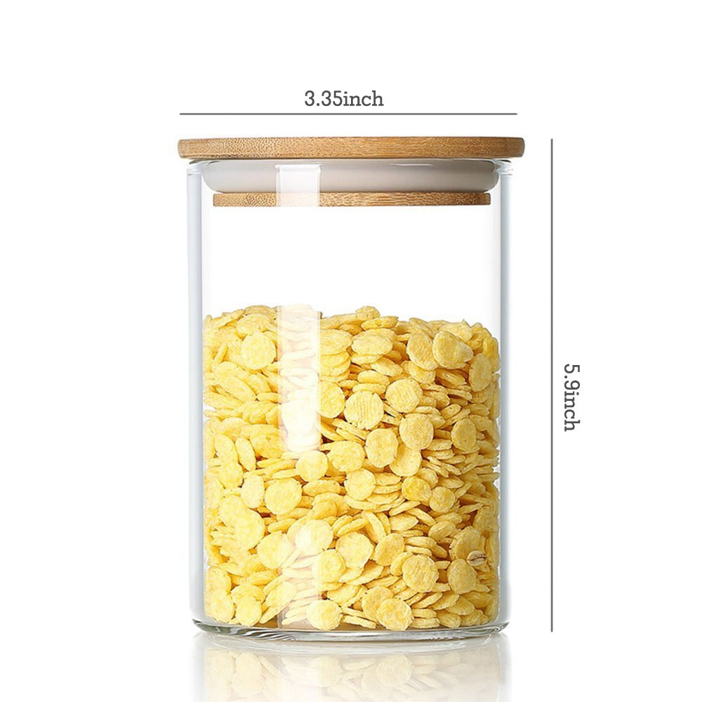 DecentGadget® Clear Borosilicate Glass Airtight Canister with Bamboo Lid and Silicone Sealing Ring Storage Jar for Candy Tea Cookie Nuts Cereal (870ml)