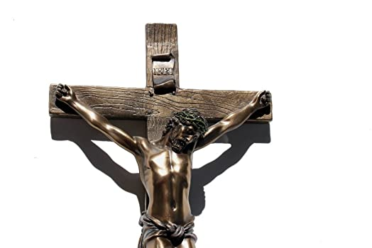 US 13 Inch Cold Cast Crucifix Religious Wall Plaque, Bronze Color