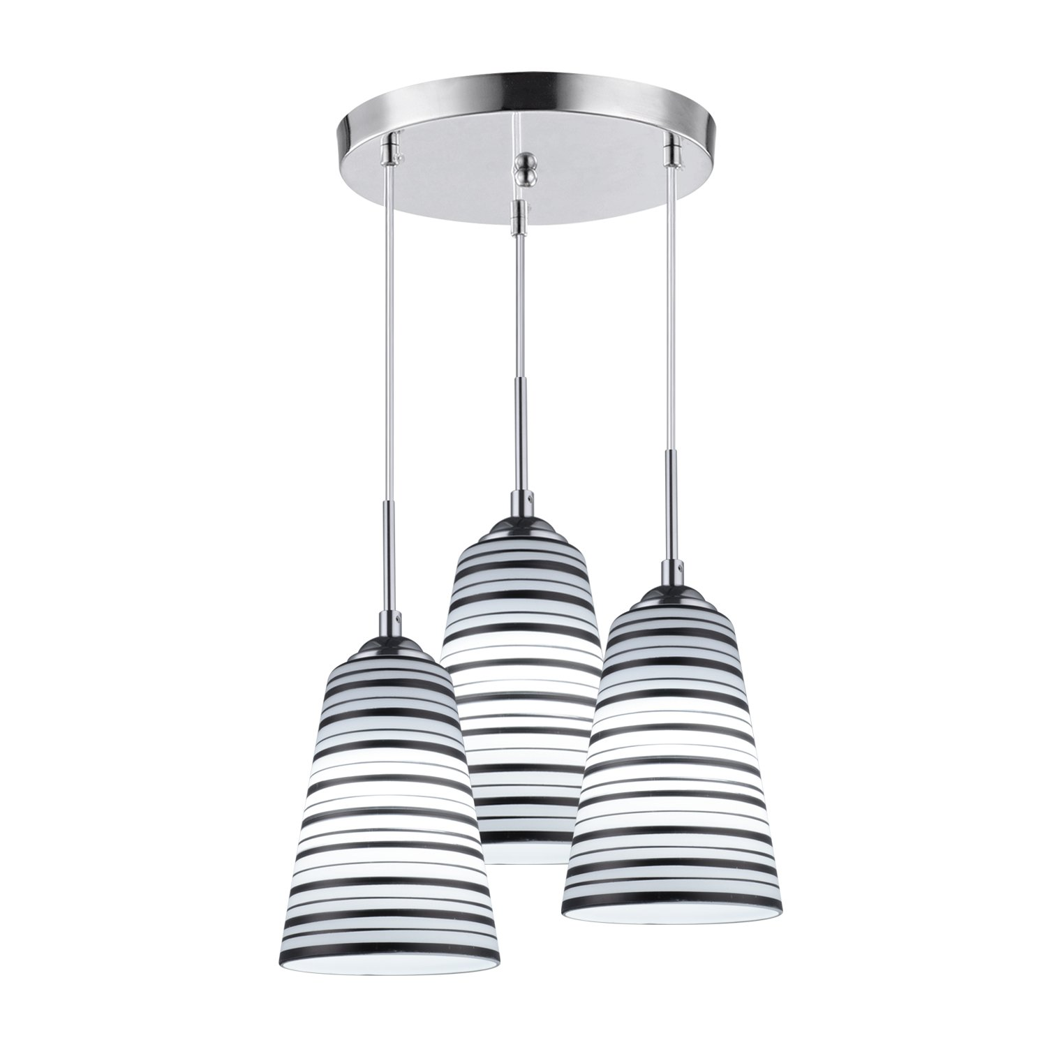 Elitlife Modern Multi-Light Pendant Light With 3-light 3x5W Bulb Elegant Chandelier Hanging Light Ceiling light Stripe Glass Shades for Restaurant,Kitchen,Living room,Cafe, Hotel (White)