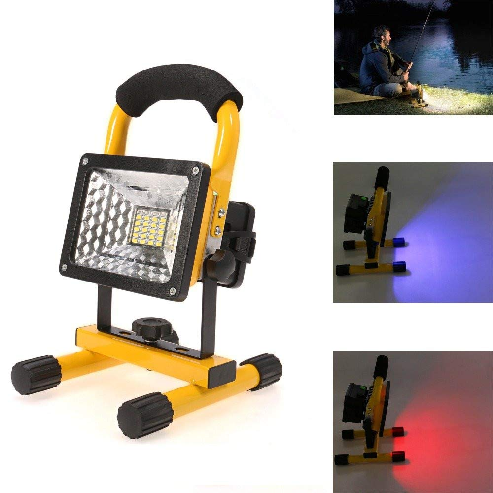 Businda Portable Rechargeable Flood Light, Waterproof Work Lights 360 Degree Adjustable Stand Camping Lamp with Handle and Charger for Outdoor Lighting/Camping/Hiking/Fishing/Car Repairing,30W 24LED by Businda