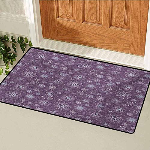 GUUVOR Snowflake Inlet Outdoor Door mat Christmas Themed Floral Arrangement Ornamental Swirls and Curves Winter Catch dust Snow and mud W35.4 x L47.2 Inch Levander Violet]()