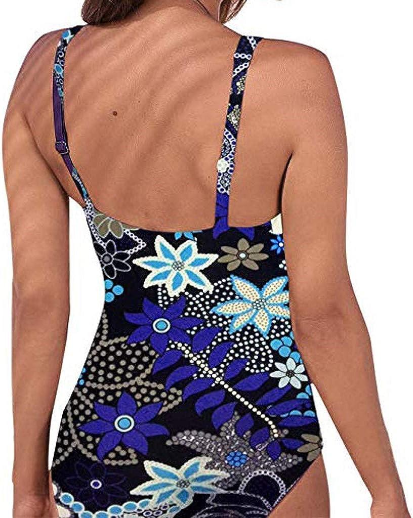 Glorxha Womens Vintage Padded Push up One Piece Swimsuits Tummy Control Bathing Suits Plus Size Swimwear