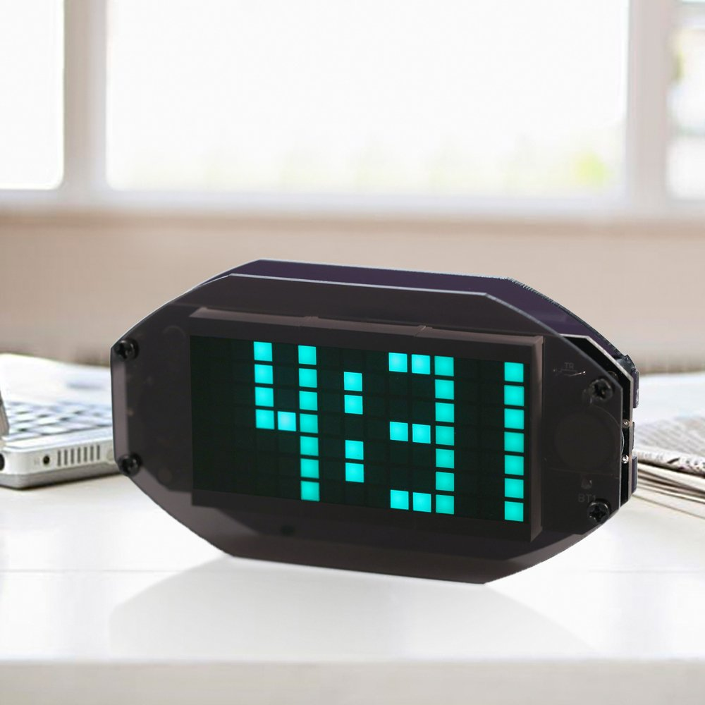 Kkmoon Diy Black Digital Led Clock Matrix Desktop Alarm Electronic Kit Circuit Board Time Learning Module With Remind Function Temperature Display Indoor