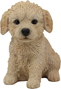"""Ebros Realistic Adorable Sitting Labradoodle Puppy Statue 6.5"""" Tall Pet Pal Golden Retriever and Poodle Mutt Dog Breed Lifelike Doggie Collectible Resin Decor Figurine with Glass Eyes"""