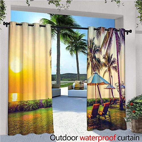 cobeDecor Seaside Exterior/Outside Curtains Empty Umbrella and Chairs on The Beach Palm Trees at Twilight Times Vacation Theme for Patio Light Block Heat Out Water Proof Drape W96 x L108 Multicolor