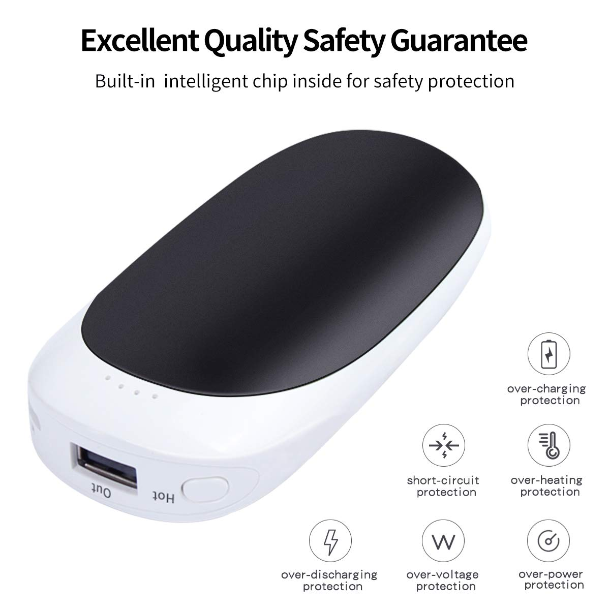 Rechargeable Hand Warmers ,Vshow Baby Dolphin USB Electric Pocket Handwarmer 5200mAh Reusable Portable Heater/Emergency Phone Charger for iPhone/Samsung Galaxy - Black