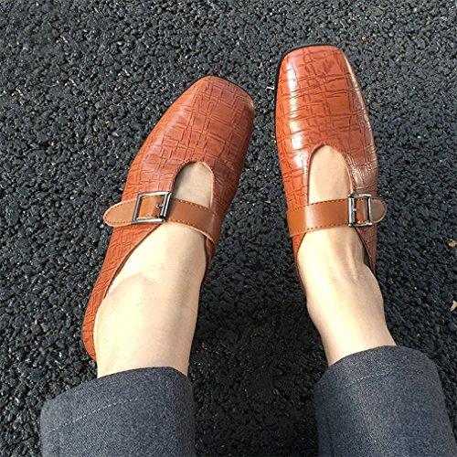 Giy Dames Zakelijke Gesp Penny Loafers Vierkante Teen Instapper Klassieke Jurk Casual Loafer Oxford Schoenen Bruin