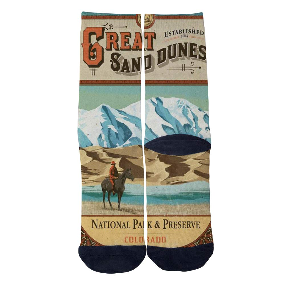 Great Sand Dunes National Park Vintage Poster Socks Mens Womens Casual Socks Custom Creative Crew Socks