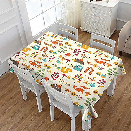 Children Patterned Tablecloth Cute Kids Autumn Pattern with Owl Fox Squirrel Birds Animal Leaves Artsy Print Dust-proof Oblong Tablecloth Multicolor 60