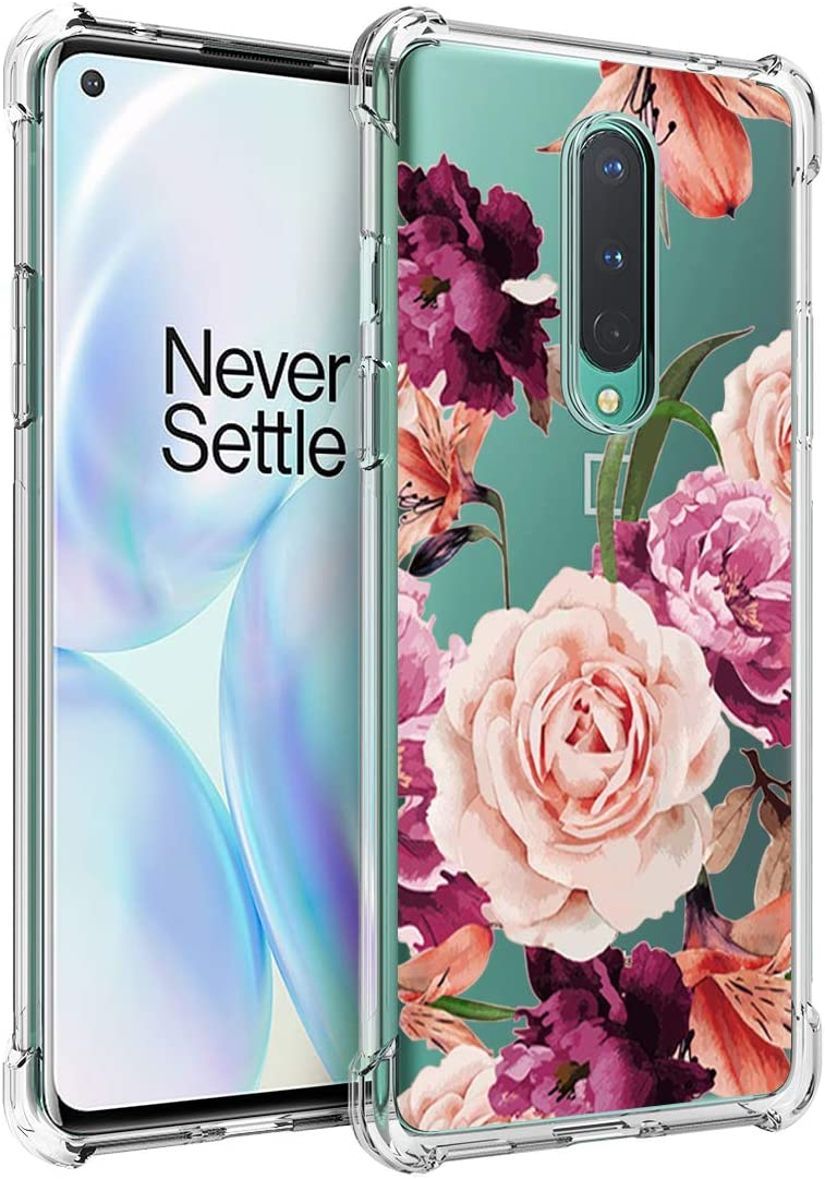 Osophter for Oneplus 8 Case Flower Floral for Girls Women Shock-Absorption Flexible TPU Rubber Soft Silicone Cover for One Plus 8(Purple Flower)