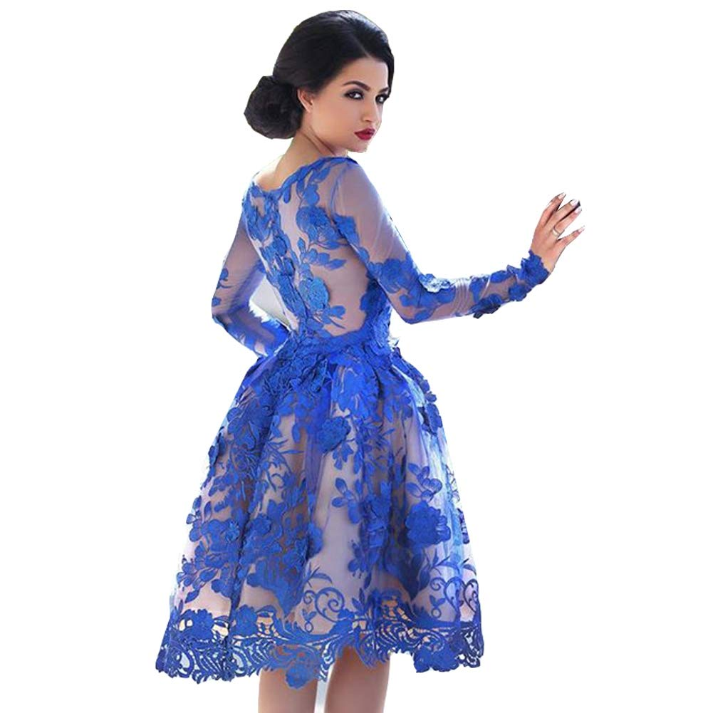 bluee Seasail 2019 Elegant Cocktail Dresses Aline Long Sleeves Appliques Lace Party Plus Size Homecoming Dresses