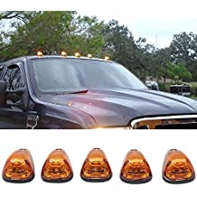 Lights Fits Ford F250 F350 Dodge Pickup | Truck Triangle Yellow Lens Top LED Cab Roof Lights by IKONMOTORSPORTS | 1997 1998 1999 2000 2001 2002 2003 2004 2005 2006 2007 2008 2009 2010 2011 2012 2013
