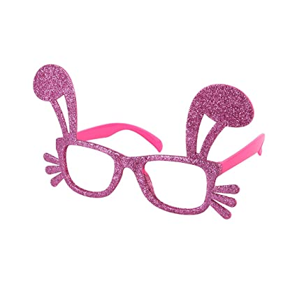 7fb84a86f8 OULII Easter Fancy Costume Accessories Bunny Ear Design Glitter Funny  Glasses Frames Decoration Kids Adults Novelty