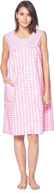 Casual Nights Womens Zip Up House Dress Sleeveless Duster Robe Housecoat Sleep Lounger
