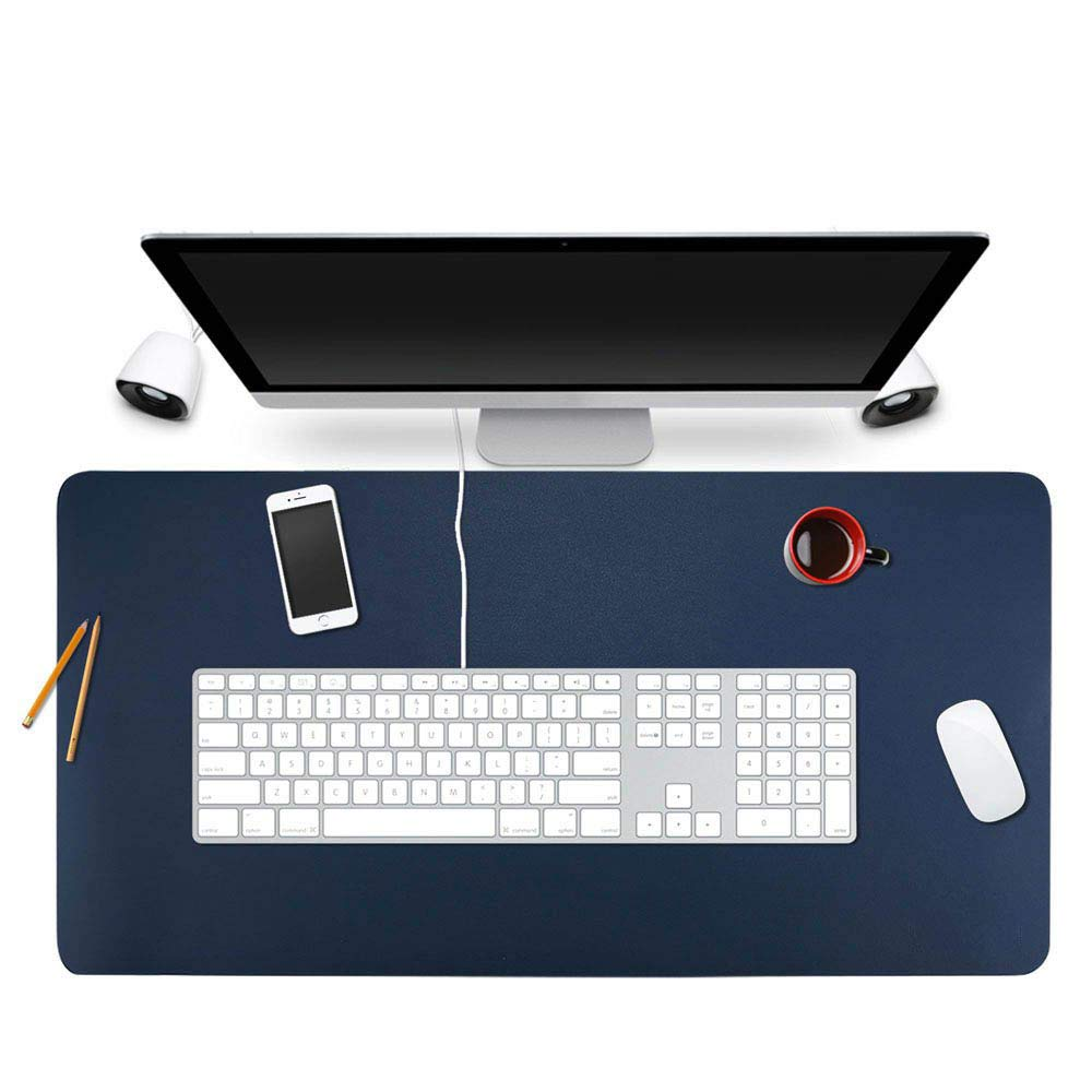 "BUBM Desk Pad Protector 35"" x 18"", PU Leather Desk Mat Blotters Organizer with Comfortable Writing Surface(Dark Blue)"