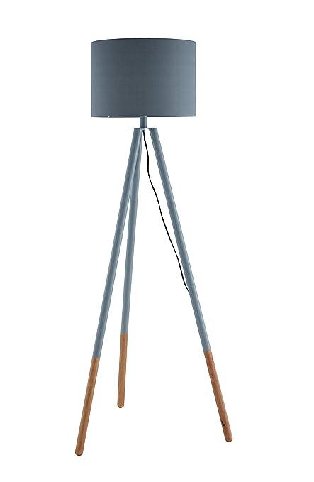 Lámpara de pie SalesFever, trípode, metal y madera gris ...