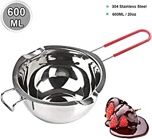 [New Upgrade] Stainless Steel Double Boiler Pot 600ML with Heat Resistant Handle for Melting Chocolate, Butter, and Candle Making - 18/8 Steel Universal Insert …