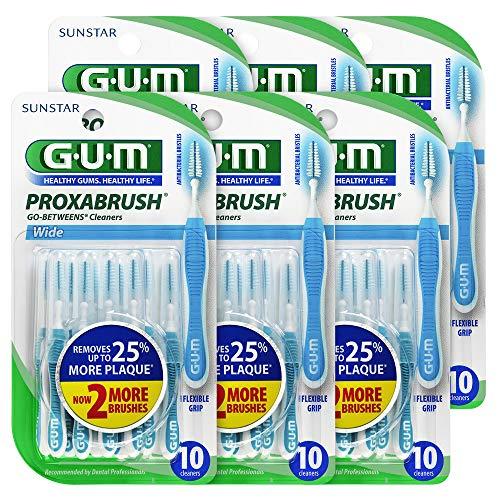 (GUM Proxabrush Go-Betweens Interdental Brushes, Wide, 10 Count (Pack of 6))