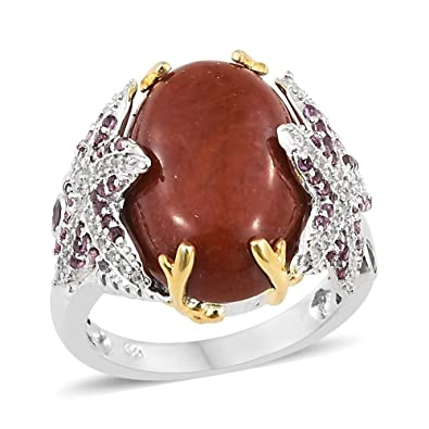 ELANZA Women 14ct Yellow Gold Plated Sterling Silver Cubic Zirconia Cocktail Ring Size N E1bmu8gy