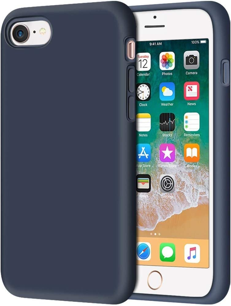 """Archie iPhone 7/8 4.7"""" Liquid Silicone Gel Case Shockproof Full Body Drop Protection Cover for Magnet Car Phone Holder with Invisible Built-in Metal Plate (Blue)"""