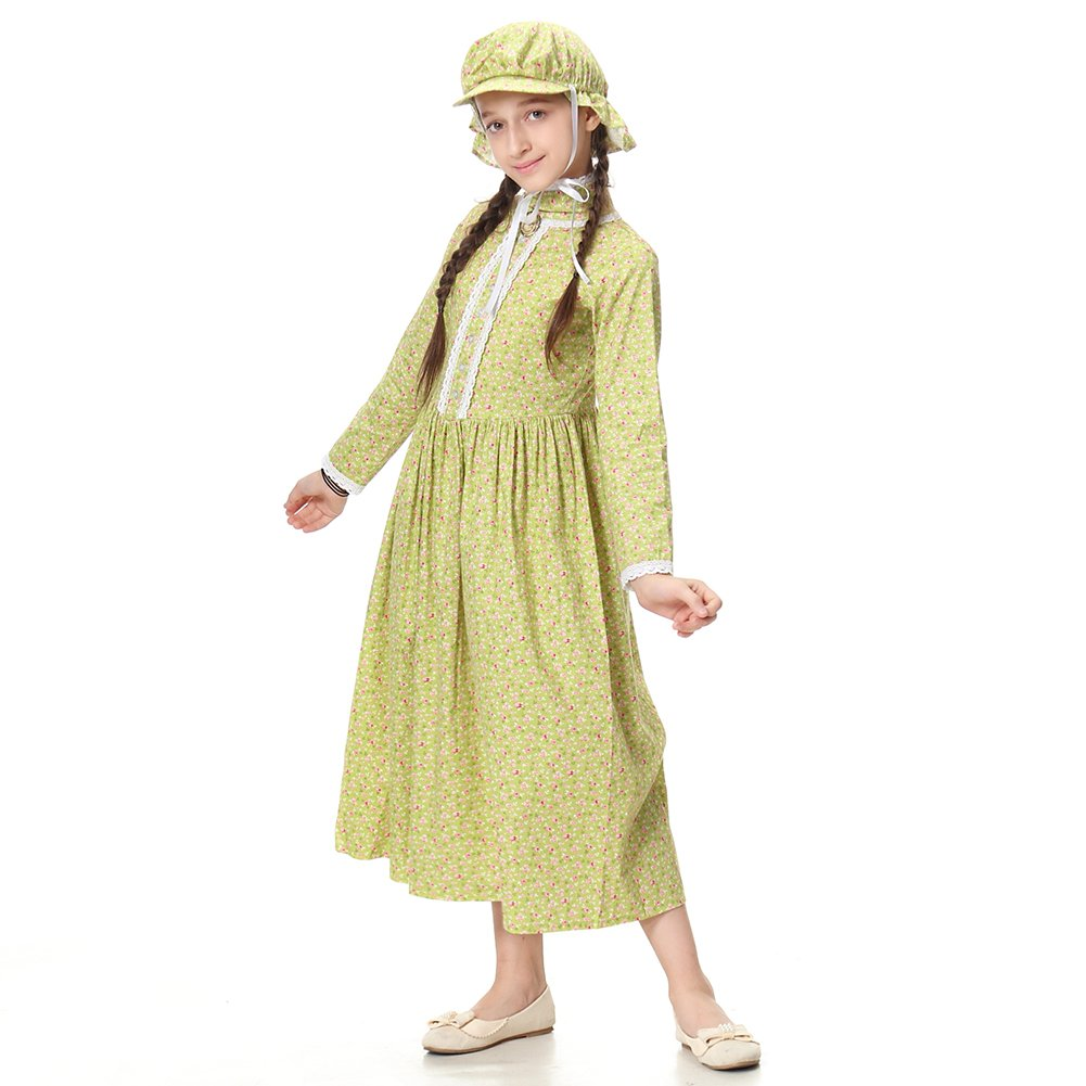 Pioneer Girl Costume Colonial Prairie Dress for Kids 100% Cotton,US14 by KOGOGO (Image #3)