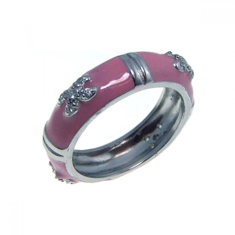 Pave Set Cubic Zirconia Pink Enamel Ring Rhodium Plated Sterling Silver