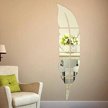 Extsud 3D Spiegel Wandaufkleber Feder Wandtattoo Wandsticker Wandbild Wand Dekoration  Für Mädchen Badezimmer Wohnzimmer Türen