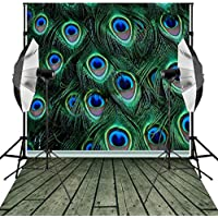 Kooer 6x9ft Peacock Backdrops Animal feathers Background Photography Wedding Themed Birthday photo photography party for Studio Props