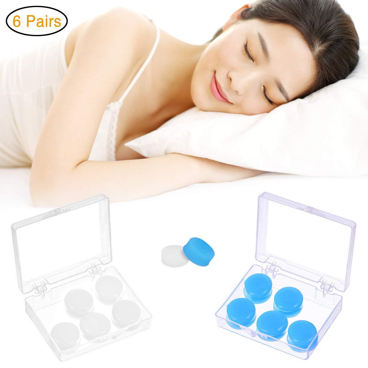 Queta Tapones de Silicona para los O/ídos a prueba de Agua//Ruidos 6 Pares Tapones para los O/ídos con Formas Ajustables para Dormir Nadar Viajar Blanco + Azul