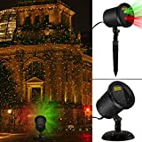 Waterproof Laser Christmas Lights Decorations Red/Green Blinking Landscape Star Spotlights Outdoor Light for Wall/Garden/Yard/Patio Decoration Family Gathering Party Christmas Laser Lights Black