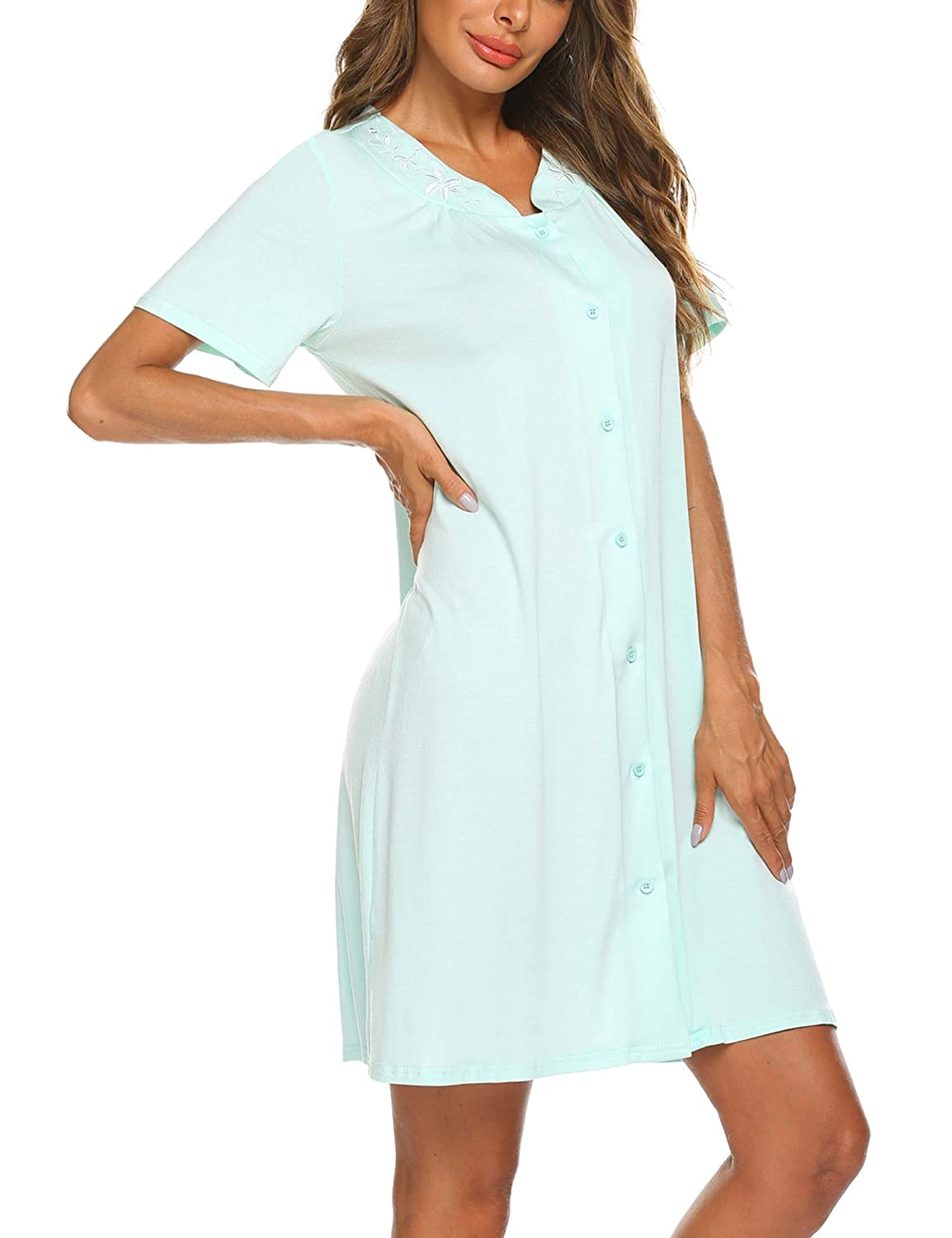 Ekouaer Womens Dusters and Housecoats Short Sleeves Nightgown Button Front Nightwear Lounger PJs Dress S-XXL