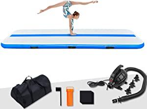 FunWater 10ft/13ft/20ft Inflatable Gymnastics Air Tumble Track Tumbling Mat 4in/6in Thick Air Floor Tumble Track with Electric Air Pump for Cheer Leading/Gymnastics/Beach/Gym/Home