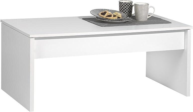 Blanc IDIMEX Table relevabledécor Salon fermé Mat Basse avec Plateau Jolie de Rangement QdroxCeWBE